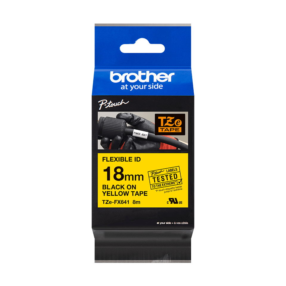 Genuine Brother TZe-FX641 Labelling Tape Cassette – Black on Yellow Flexible-ID, 18mm wide 2