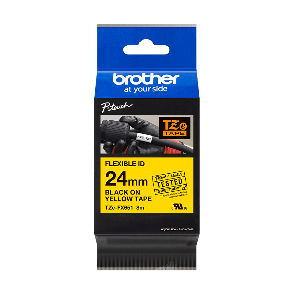 Genuine Brother TZe-FX651 Flexible ID Tape – Black on Yellow Flexible-ID, 24mm wide 2