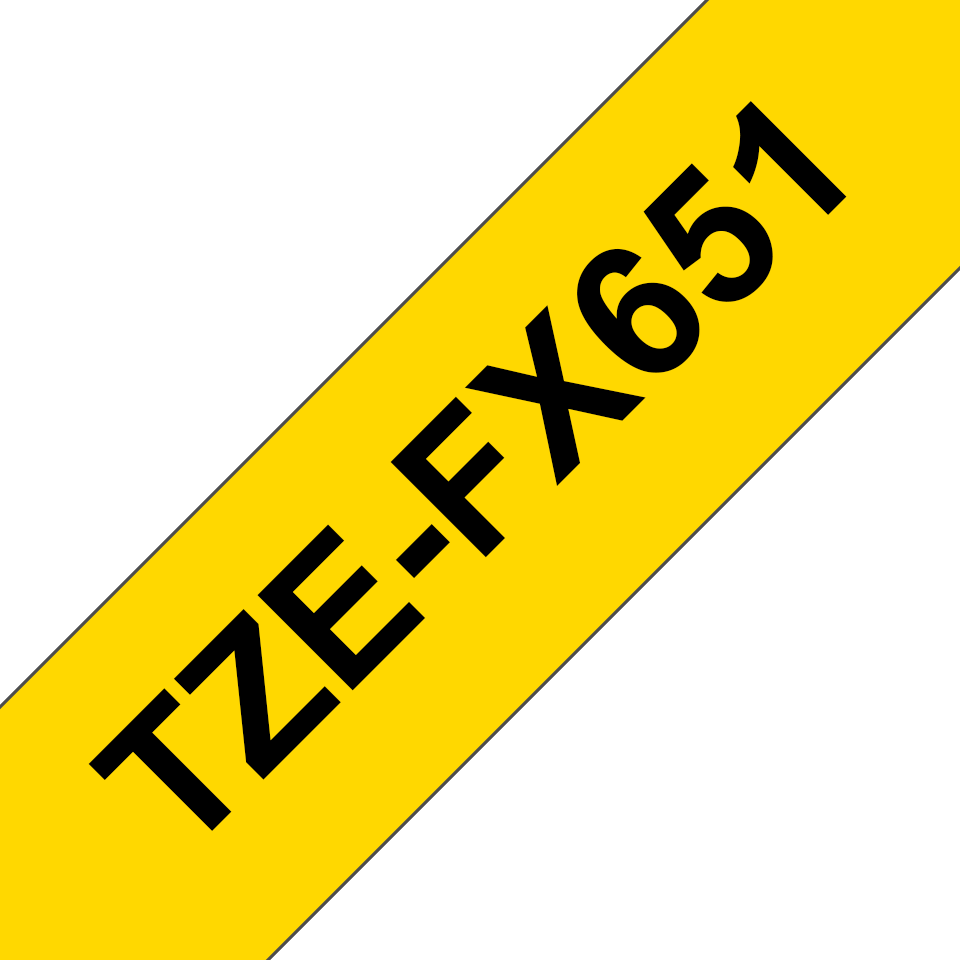 Genuine Brother TZe-FX651 Flexible ID Tape – Black on Yellow Flexible-ID, 24mm wide 3