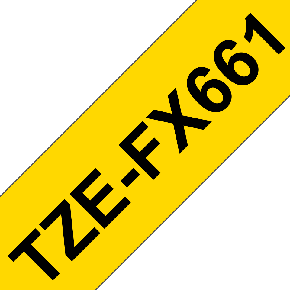 Genuine Brother TZe-FX661 Labelling Tape Cassette – Black on Yellow Flexible-ID, 36mm wide