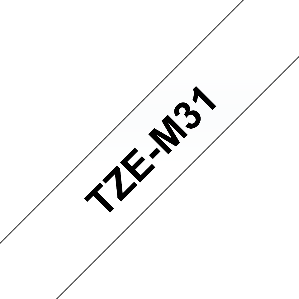 Genuine Brother TZe-M31 Labelling Tape Cassette – Black on Clear Matt Tape, 12mm wide 3