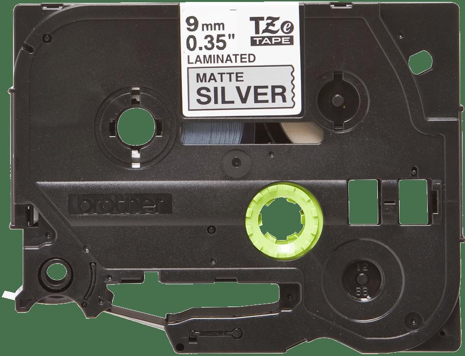 Genuine Brother TZe-M921 Labelling Tape Cassette – Black on Matte Silver, 9mm wide 2