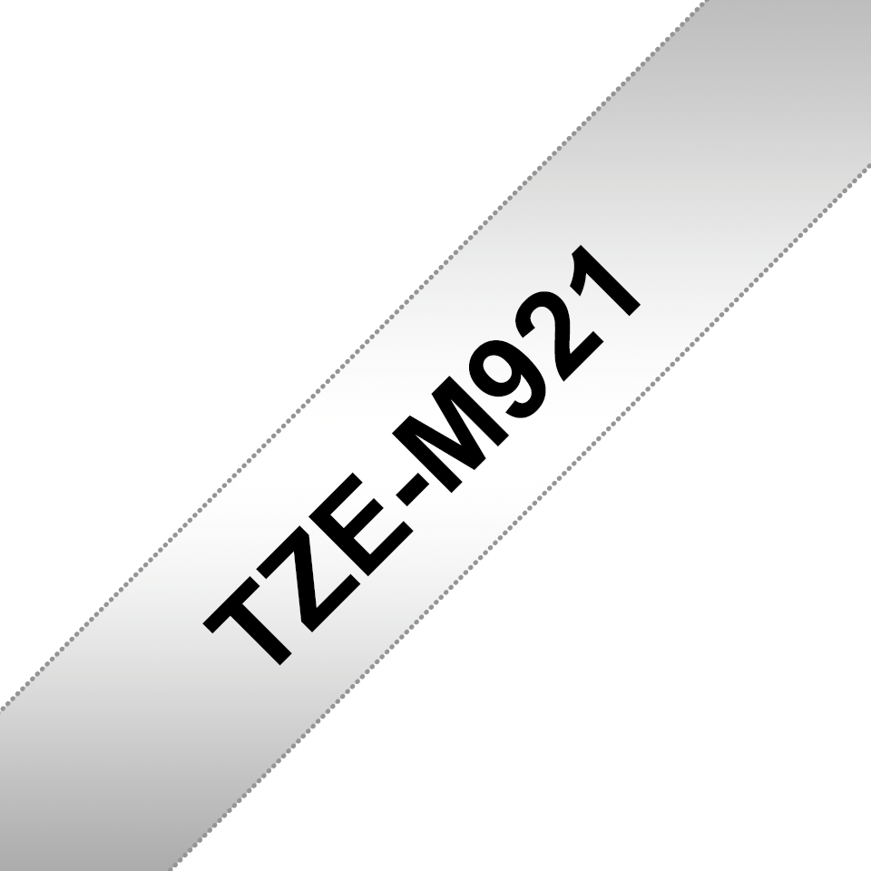 Genuine Brother TZe-M921 Labelling Tape Cassette – Black on Matte Silver, 9mm wide