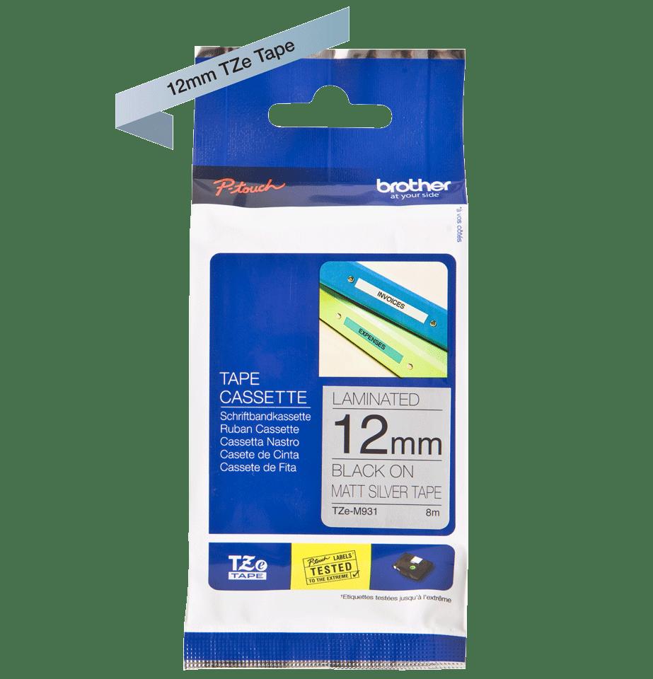 Genuine Brother TZe-M931 Labelling Tape Cassette – Black on Matte Silver, 12mm wide 3