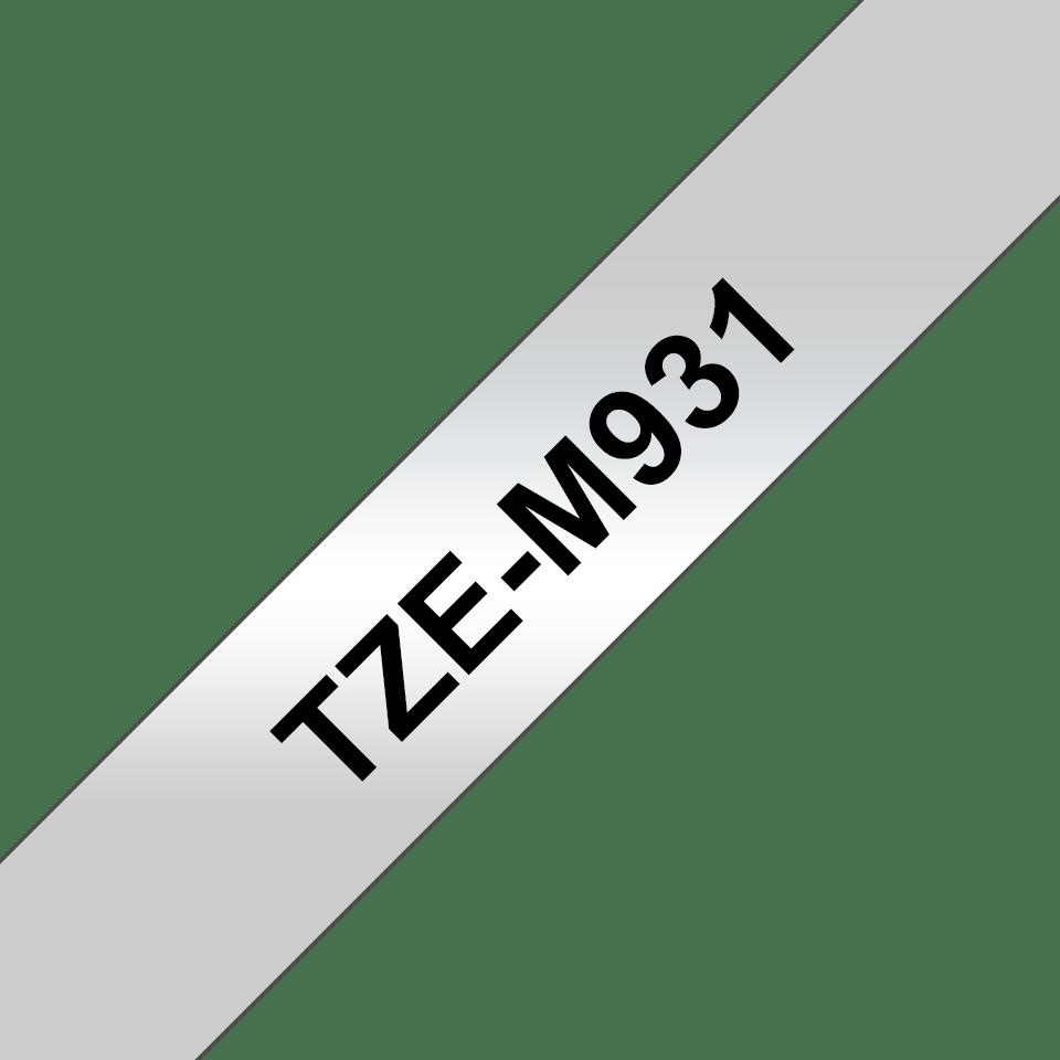 Genuine Brother TZe-M931 Labelling Tape Cassette – Black on Matt Silver, 12mm wide 3