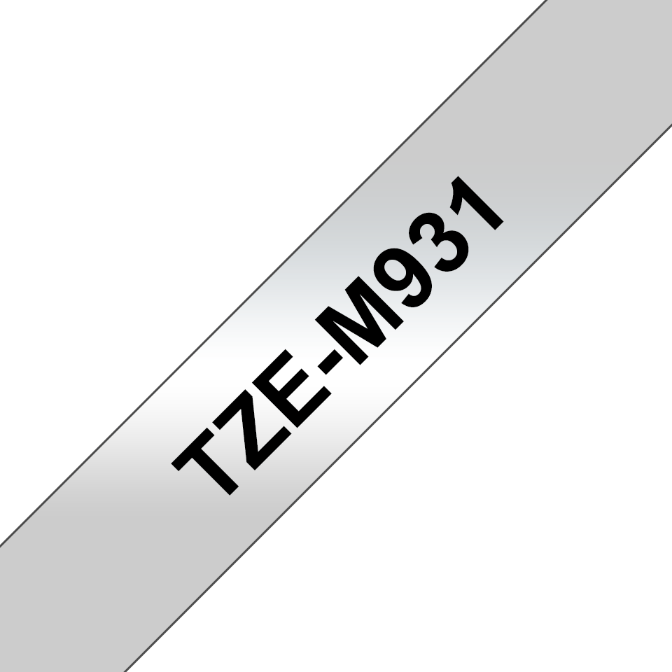 Genuine Brother TZe-M931 Labelling Tape Cassette – Black on Matt Silver, 12mm wide