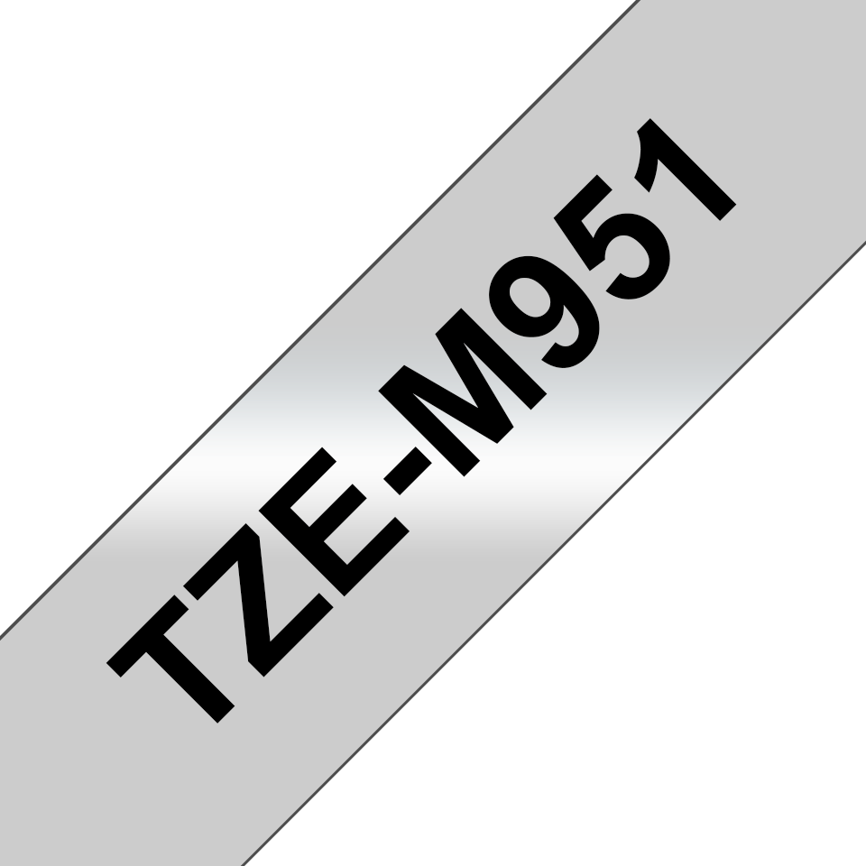 Genuine Brother TZe-M951 Labelling Tape Cassette – Black on Matte Silver, 24mm wide