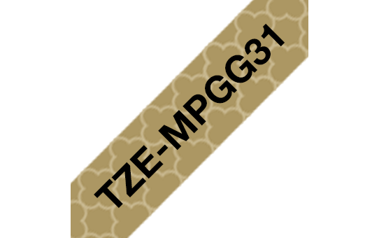 Genuine Brother TZe-MPGG31 Labelling Tape Cassette – Black On Gold Pattern, 12mm wide 2