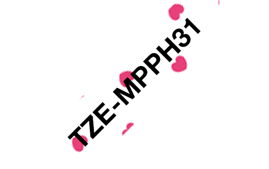 Genuine Brother TZe-MPPH31 Labelling Tape Cassette – Black on Pink Hearts, 12mm wide