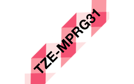Genuine Brother TZe-MPRG31 Labelling Tape – Black on Red Gingham, 12mm wide