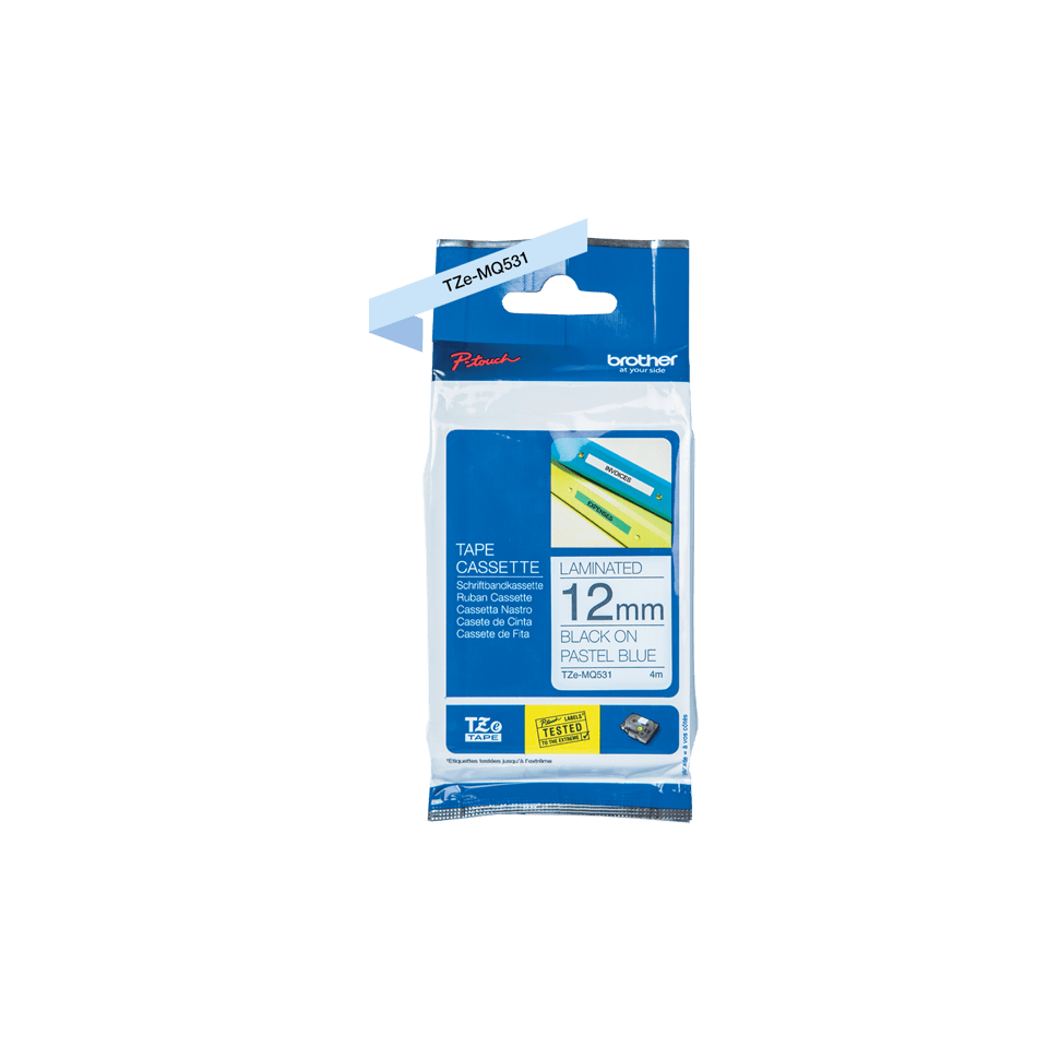 Genuine Brother TZe-MQ531 Labelling Tape Cassette – Black on Pastel Blue, 12mm wide 1