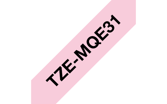 Genuine Brother TZe-MQE31 Labelling Tape Cassette – Black on Pastel Pink, 12mm wide
