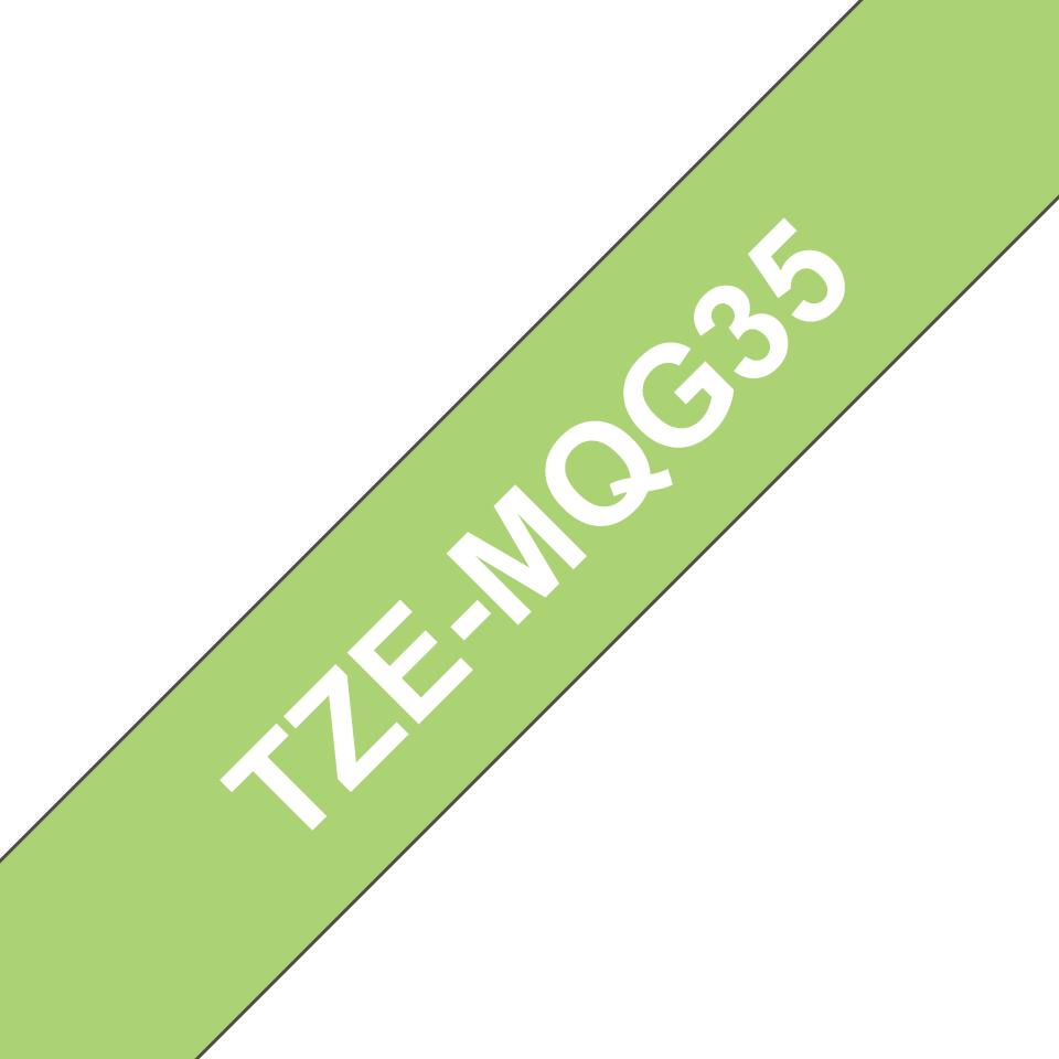 Genuine Brother TZe-MQG35 Labelling Tape Cassette – White on Lime Green, 12mm wide 3