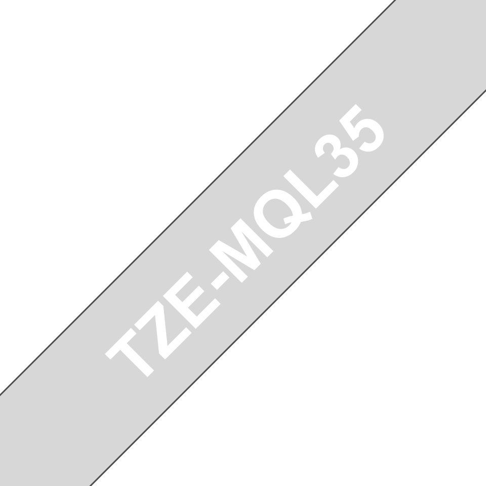 Genuine Brother TZe-MQL35 Labelling Tape – White on Grey, 12mm wide