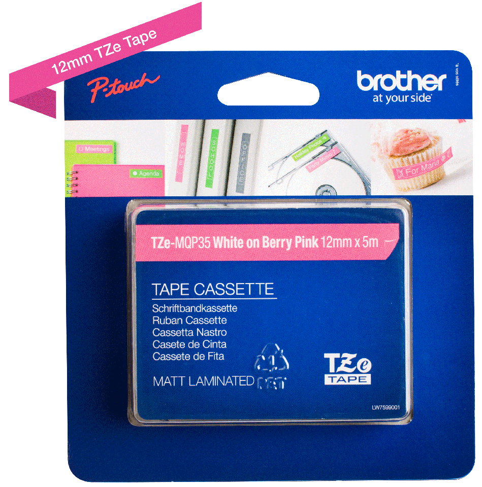 Genuine Brother TZe-MQP35 Labelling Tape Cassette – White on Berry Pink, 12mm wide 2
