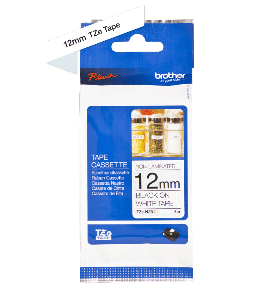 Genuine Brother TZe-N231 Labelling Tape Cassette – Black on White, 12mm wide 3