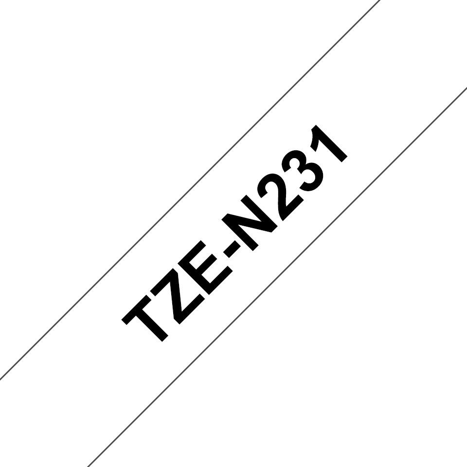 Genuine Brother TZe-N231 Labelling Tape Cassette – Black on White, 12mm wide