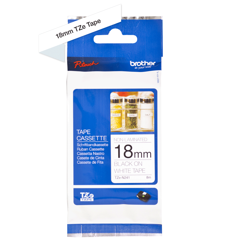 Genuine Brother TZe-N241 Labelling Tape Cassette – Black on White, 18mm wide 1