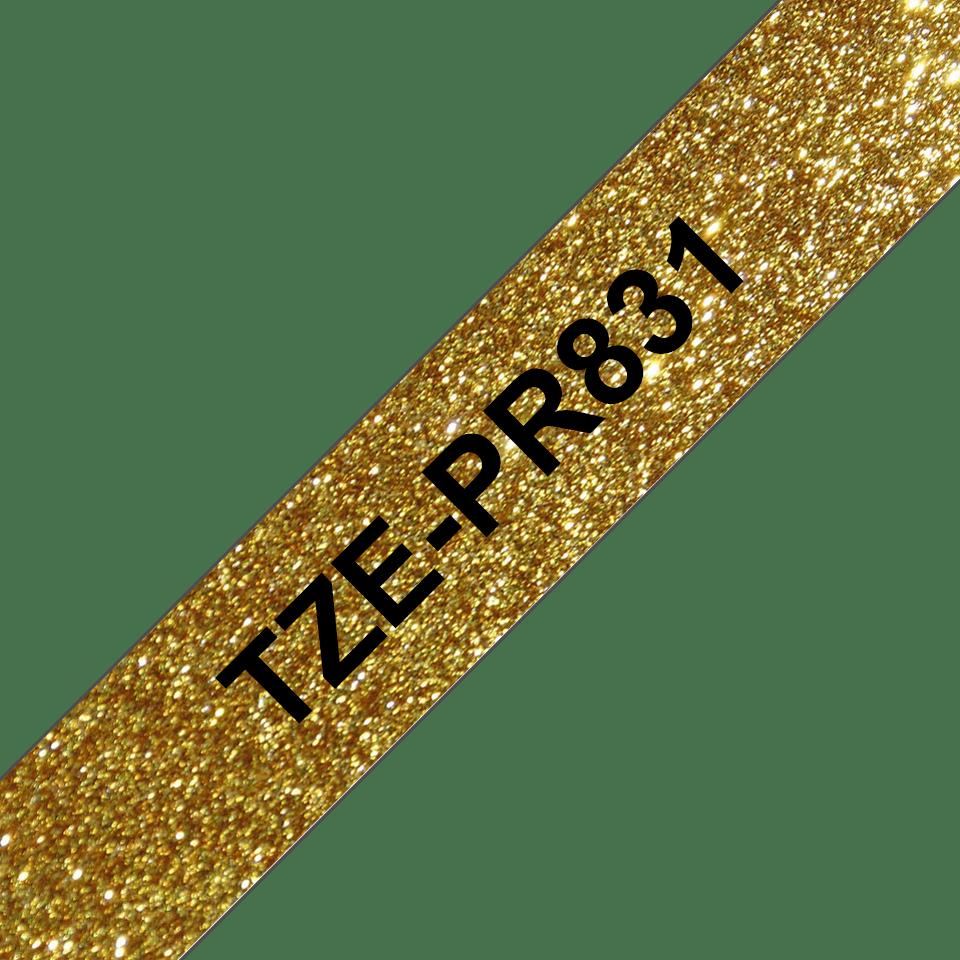Genuine Brother TZe-PR831 Labelling Tape Cassette – Black On Premium Gold, 12mm wide 3