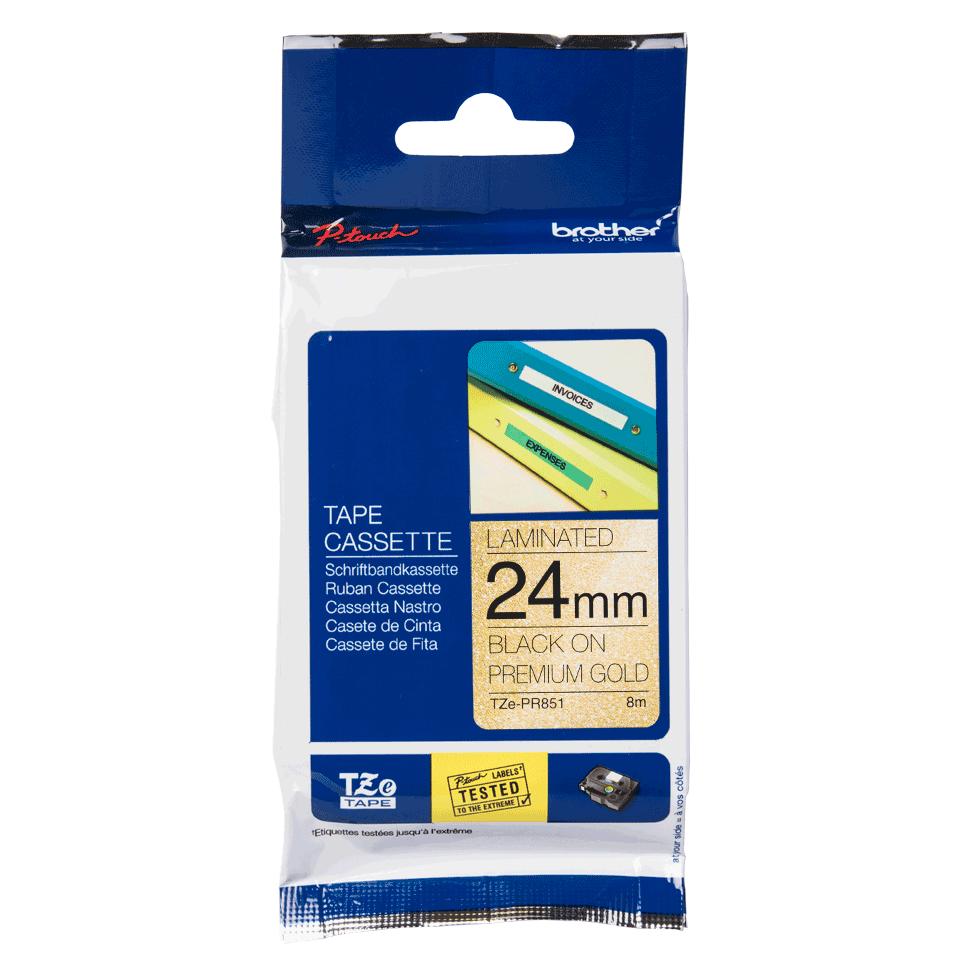 Genuine Brother TZe-PR851 Labelling Tape Cassette – Black On Premium Gold, 24mm wide 3