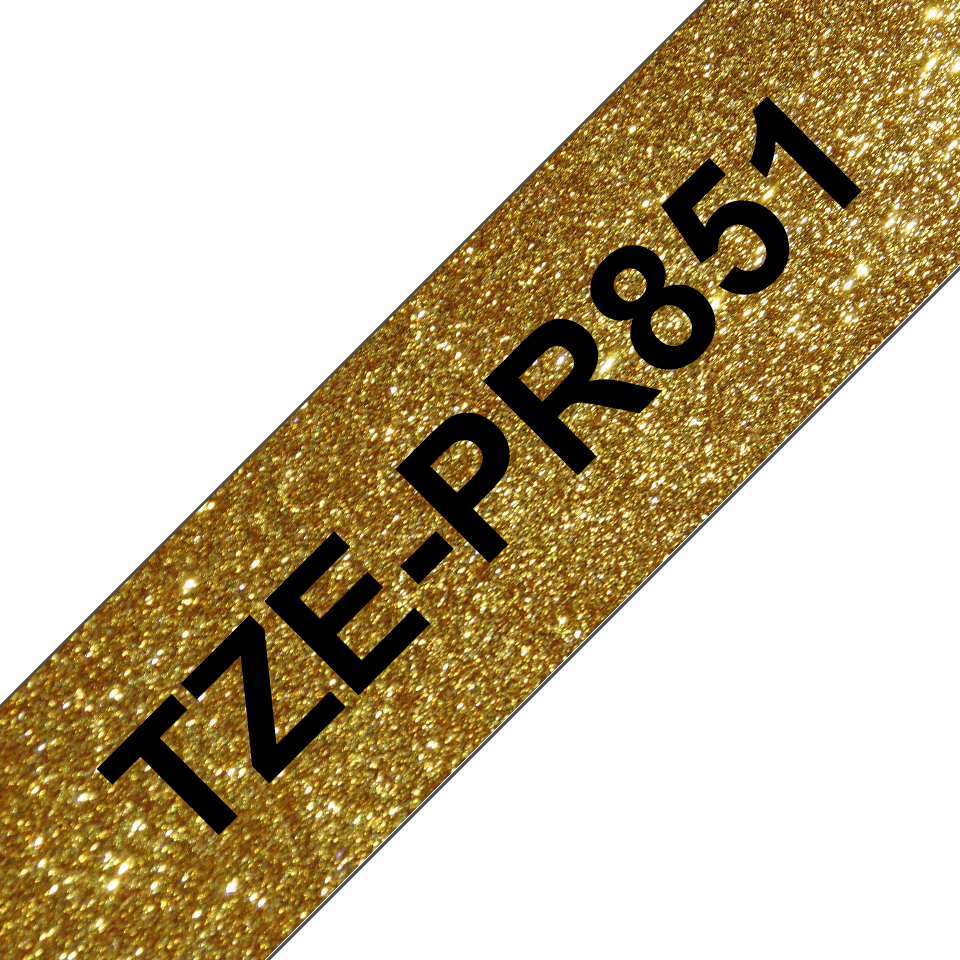Genuine Brother TZe-PR851 Labelling Tape Cassette – Black On Premium Gold, 24mm wide 3