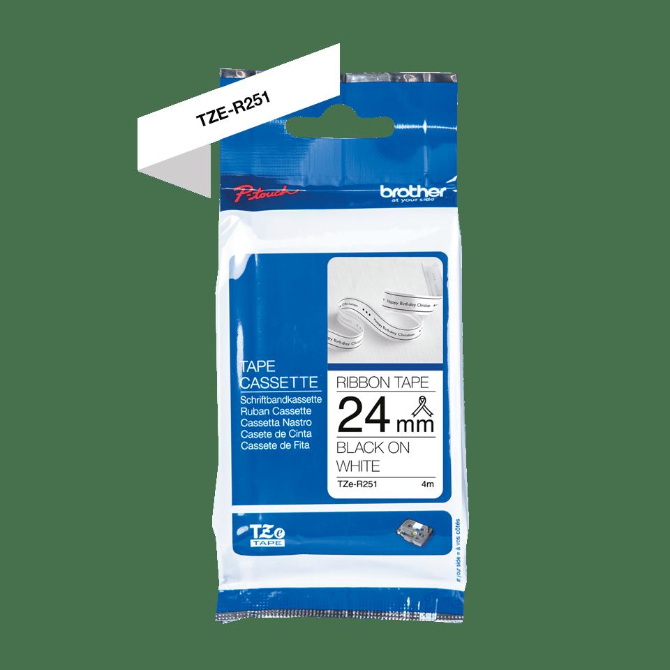 Genuine Brother TZe-R251 Ribbon Tape Cassette – Black on White, 24mm wide 2