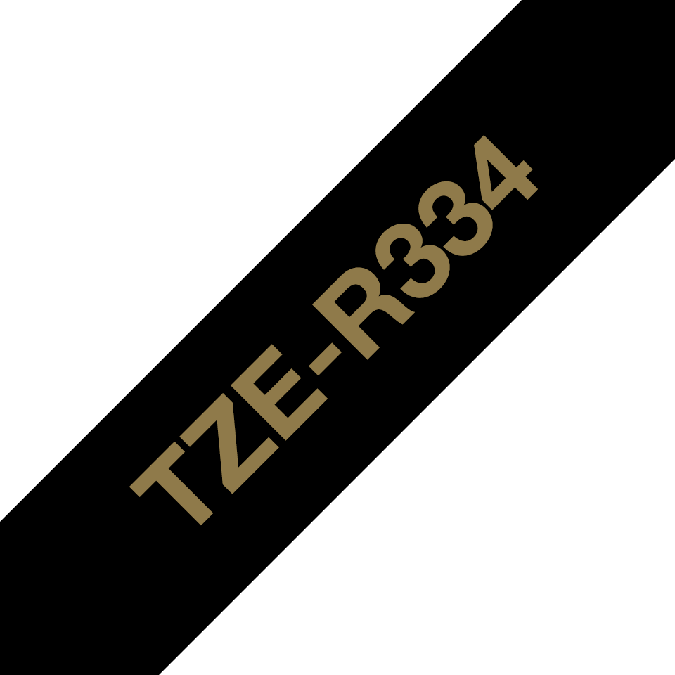 Genuine Brother TZe-R334 Ribbon Tape Cassette – Gold on Black, 12mm wide 3