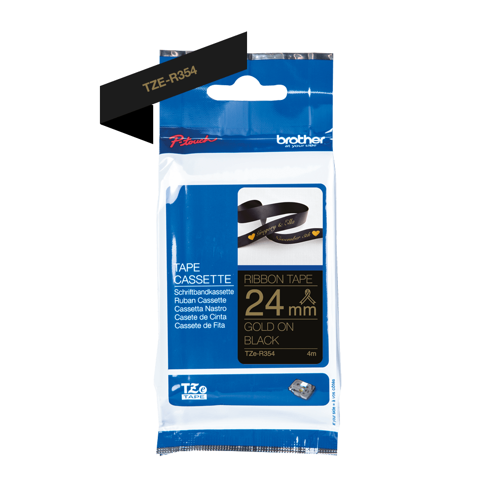 Genuine Brother TZe-R354 Ribbon Tape Cassette – Gold on Black, 24mm wide 2