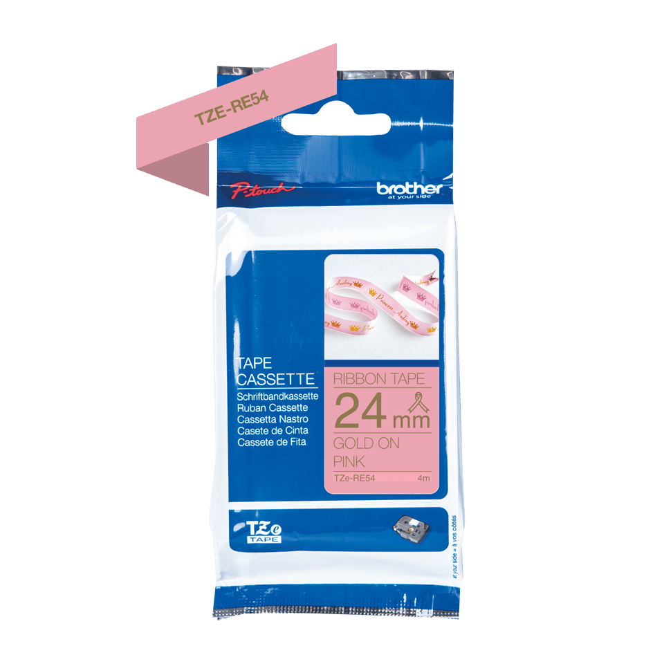 Genuine Brother TZe-RE54 Ribbon Tape Cassette – Gold on Pink, 24mm wide 3