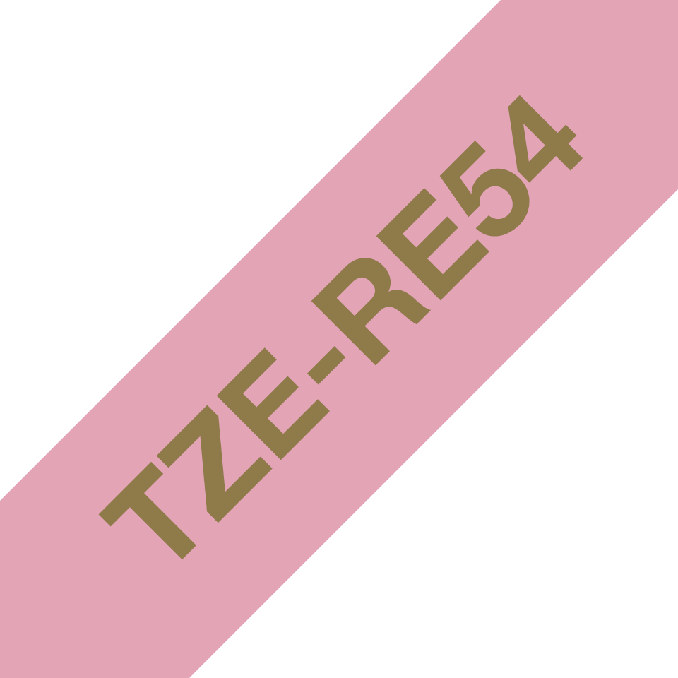 Genuine Brother TZe-RE54 Ribbon Tape Cassette – Gold on Pink, 24mm wide