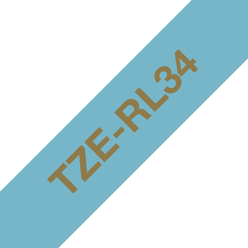 Genuine Brother TZe-RL34 Ribbon Tape Cassette – Gold on Light Blue, 12mm wide