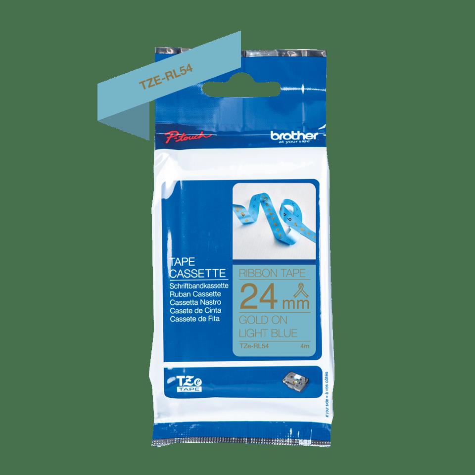Genuine Brother TZe-RL54 Ribbon Tape Cassette – Gold on Light Blue, 24mm wide 3