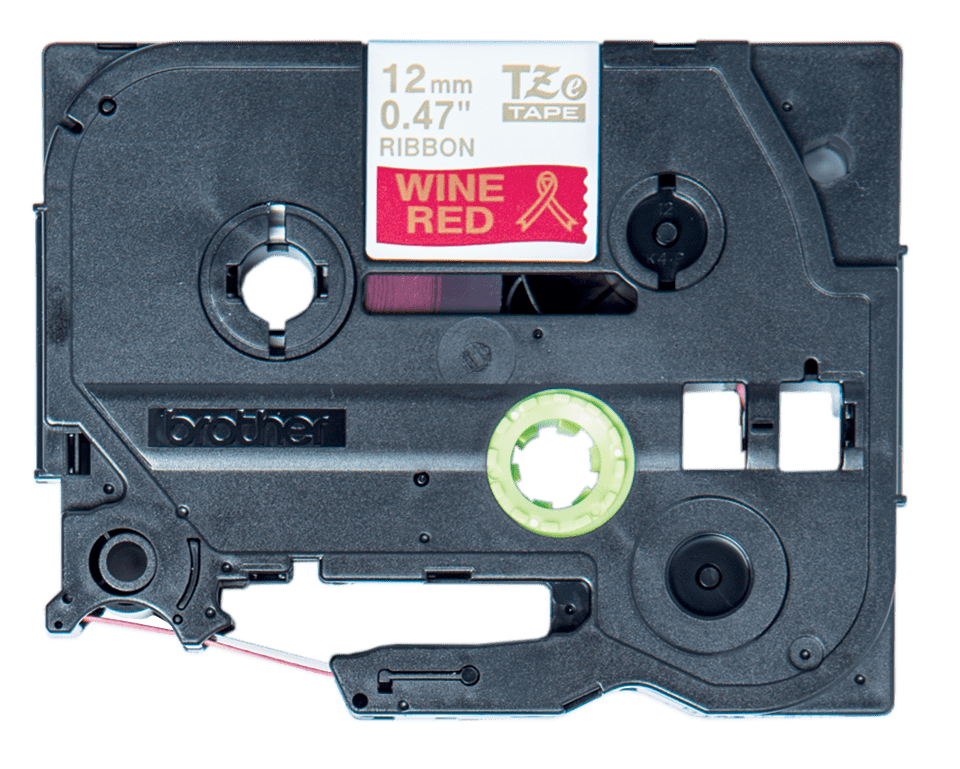 Genuine Brother TZe-RW34 Ribbon Tape Cassette – Gold on Wine  Red, 12mm wide