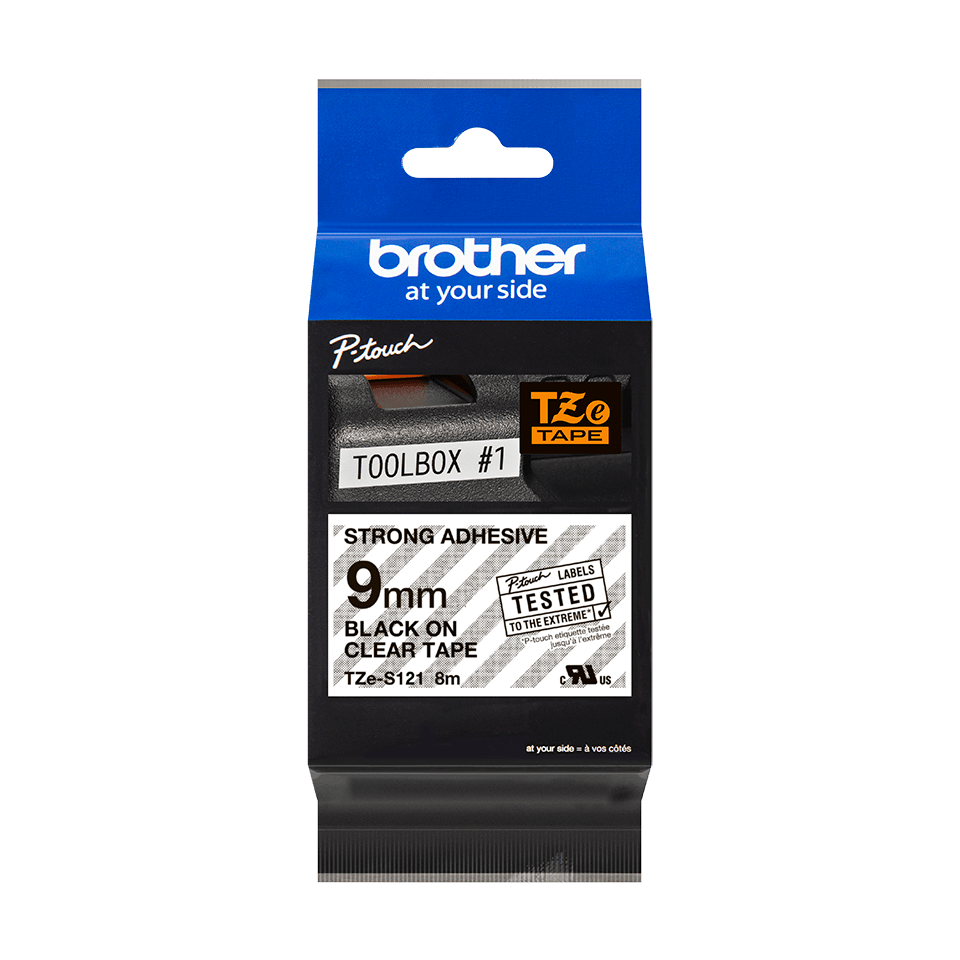 Genuine Brother TZe-S121 Labelling Tape Cassette – Black on Clear Strong Adhesive, 9mm wide 2
