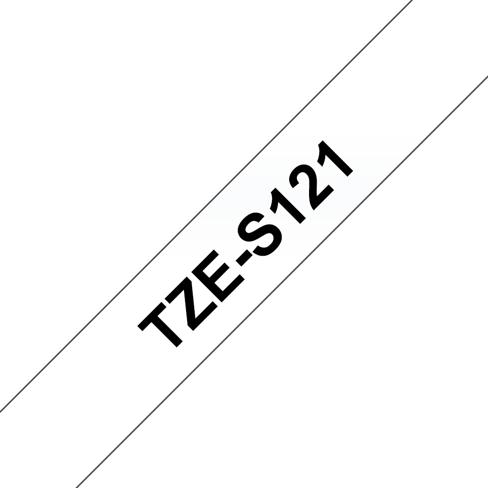 Genuine Brother TZe-S121 Labelling Tape Cassette – Black on Clear, 9mm wide