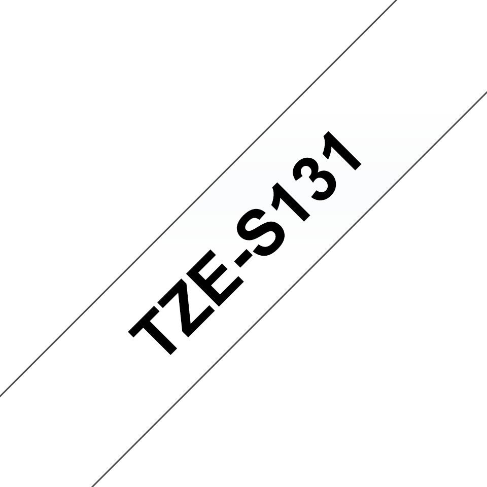 Genuine Brother TZe-S131 Labelling Tape Cassette – Black on Clear Strong Adhesive, 12mm wide