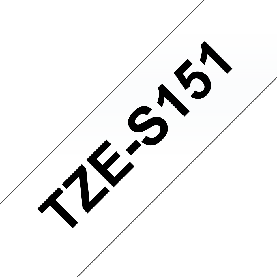 Genuine Brother TZE-S151 Labelling Tape Cassette – Black on Clear Strong Adhesive, 24mm wide