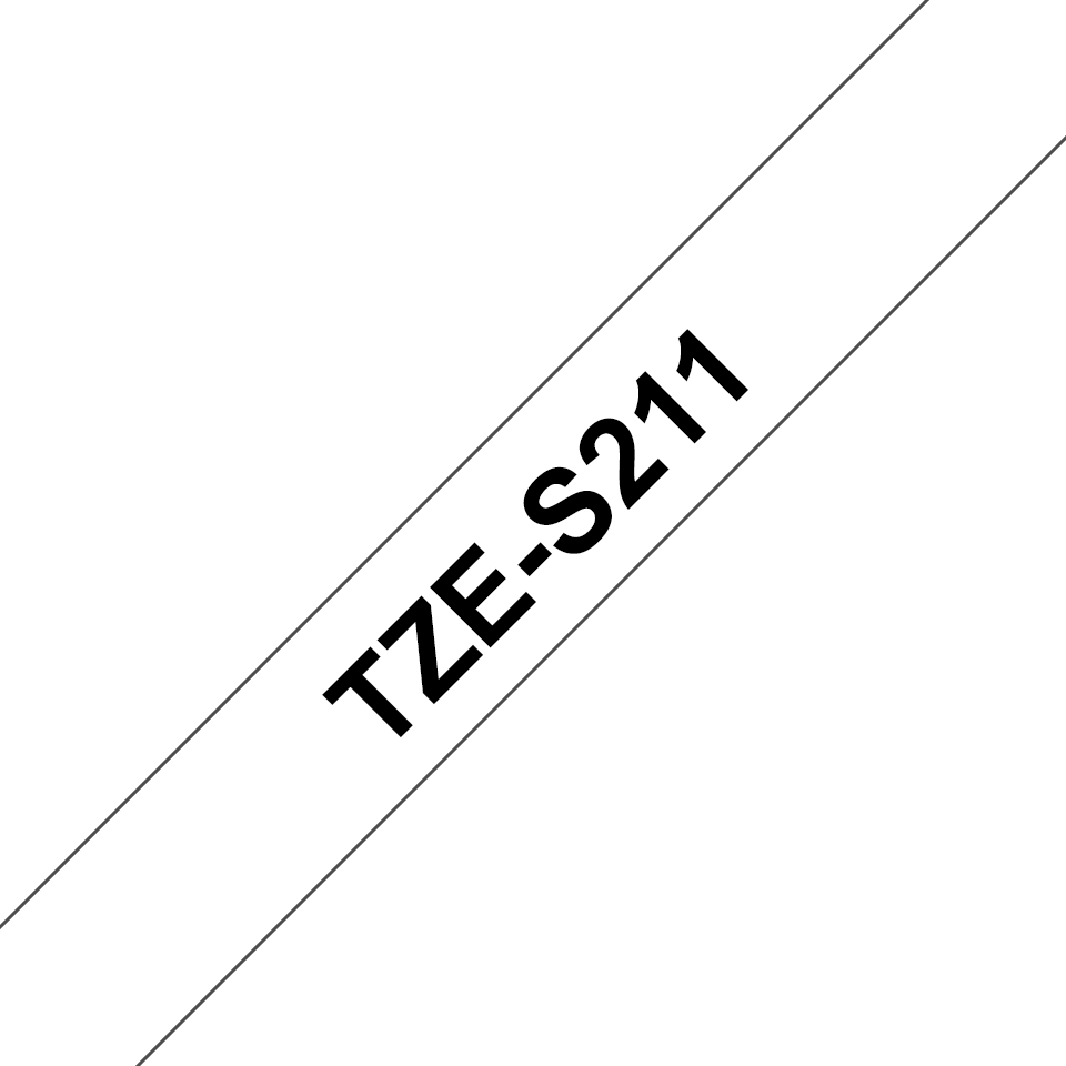 Genuine Brother TZe-S211 Labelling Tape Cassette – Black on White Strong Adhesive, 6mm wide