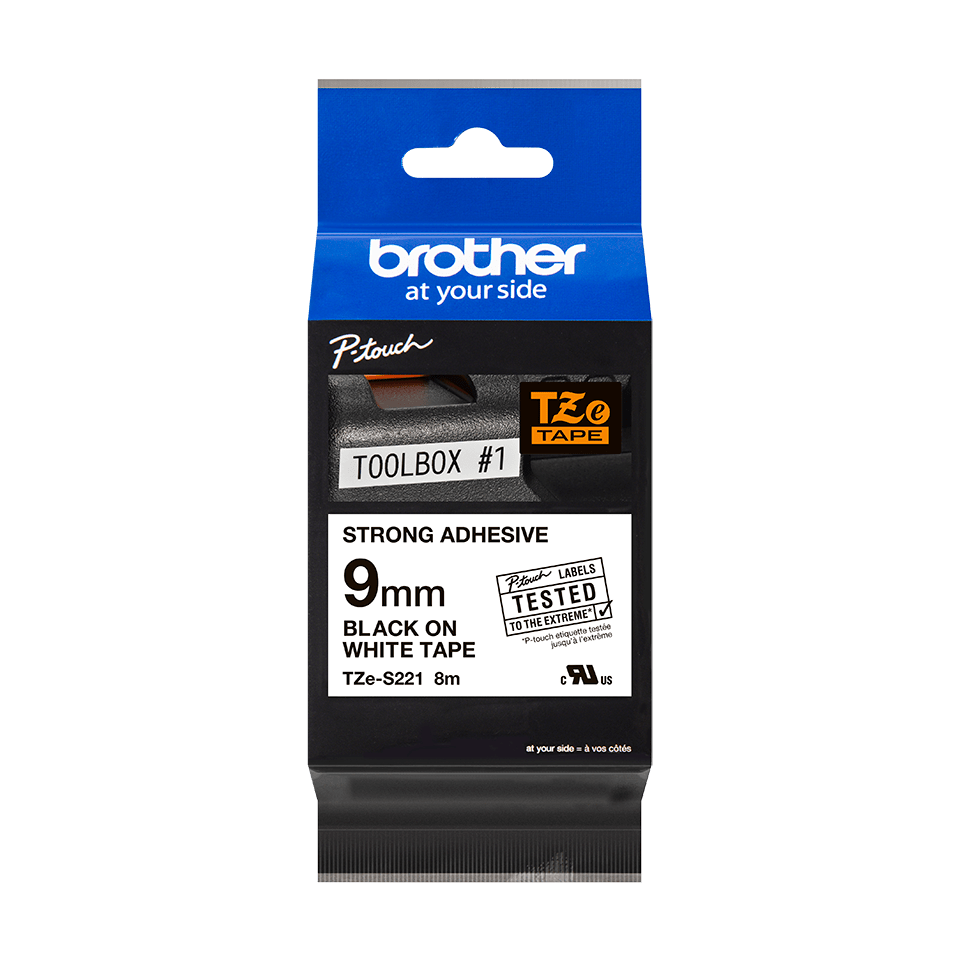 Genuine Brother TZe-S221 Labelling Tape Cassette – Black on White Strong Adhesive, 9mm wide 2