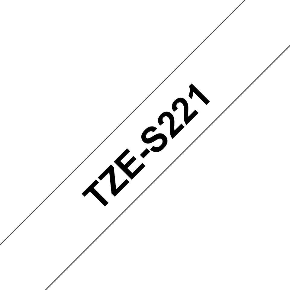 Genuine Brother TZe-S221 Labelling Tape Cassette – Black on White Strong Adhesive, 9mm wide