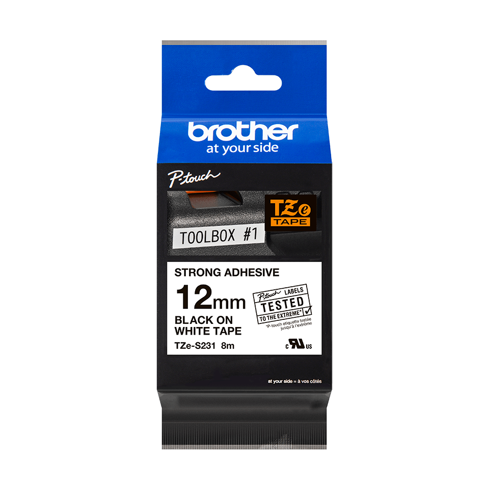 Genuine Brother TZe-S231 Labelling Tape Cassette – Black on White, 12mm wide 2