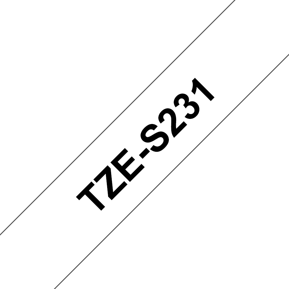Genuine Brother TZe-S231 Labelling Tape Cassette – Black on White, 12mm wide