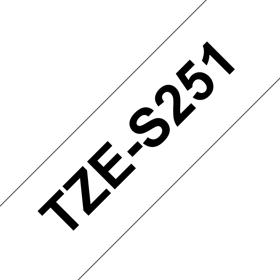 Genuine Brother TZe-S251 Labelling Tape Cassette – Black on White, 24mm wide