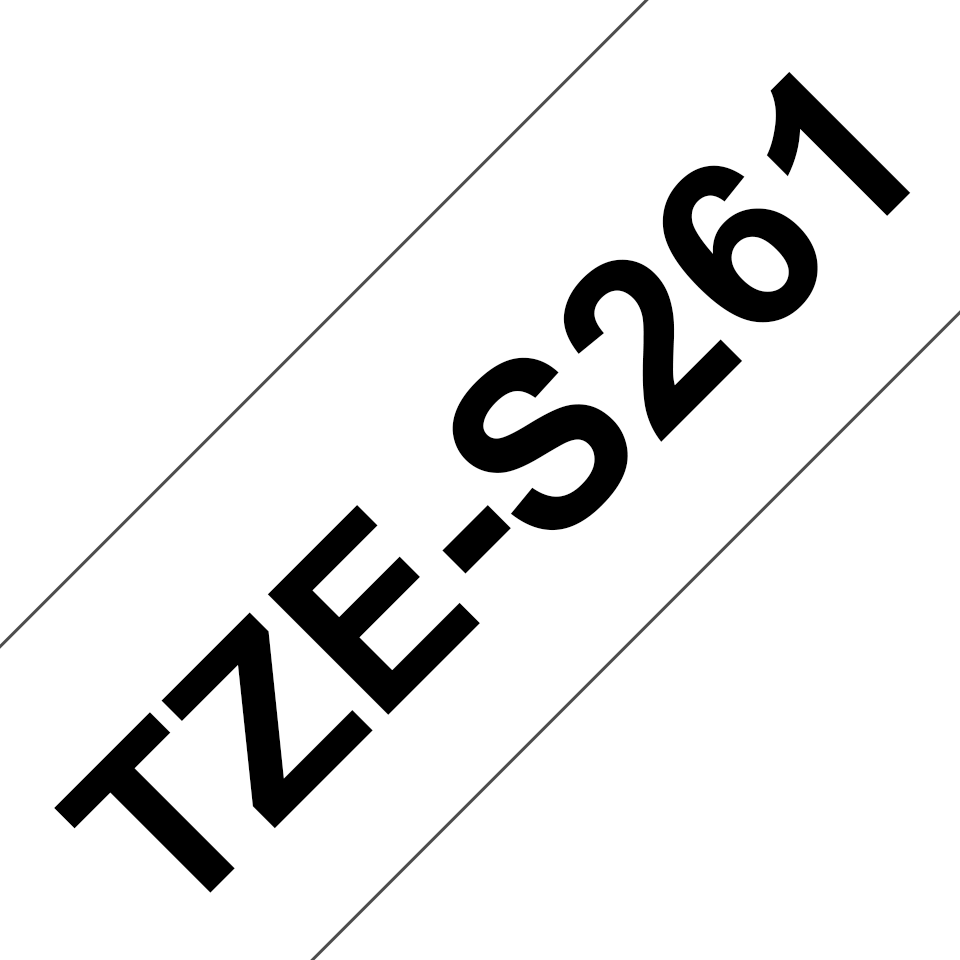 Genuine Brother TZe-S261 Labelling Tape Cassette – Black on White Strong Adhesive, 36mm wide