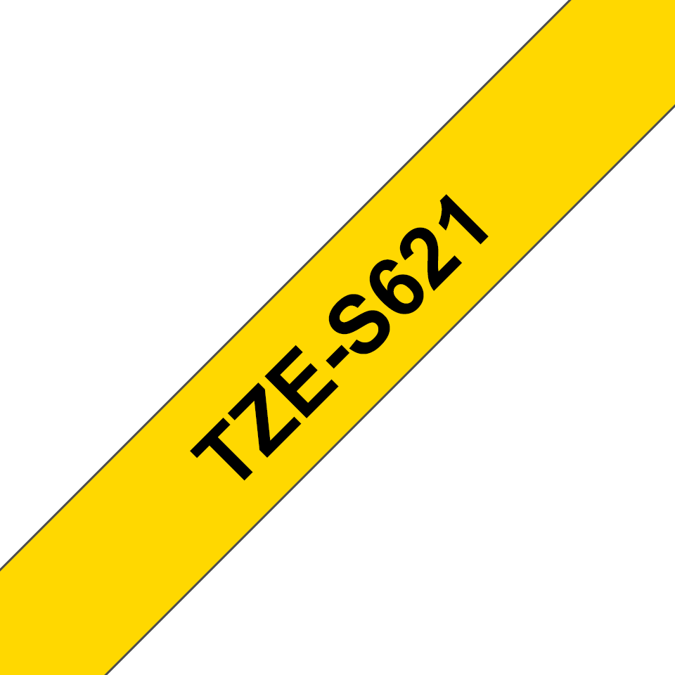 Genuine Brother TZe-S621 Labelling Tape Cassette – Black on Yellow, 9mm wide
