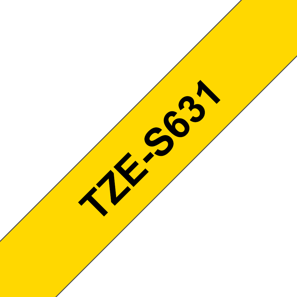 Genuine Brother TZe-S631 Labelling Tape Cassette – Black on Yellow Strong Adhesive, 12mm wide