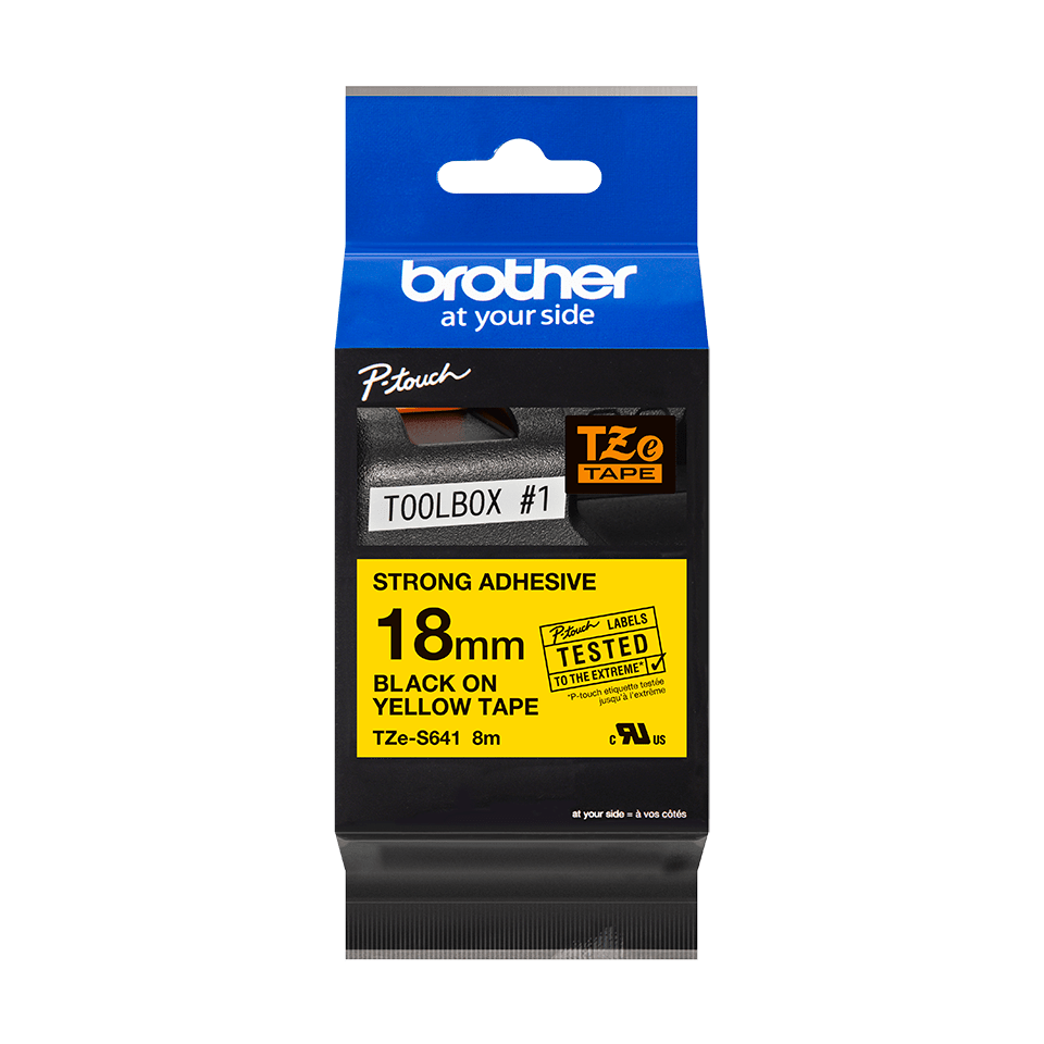 Genuine Brother TZe-S641 Labelling Tape Cassette – Black on Yellow Strong Adhesive, 18mm wide 2