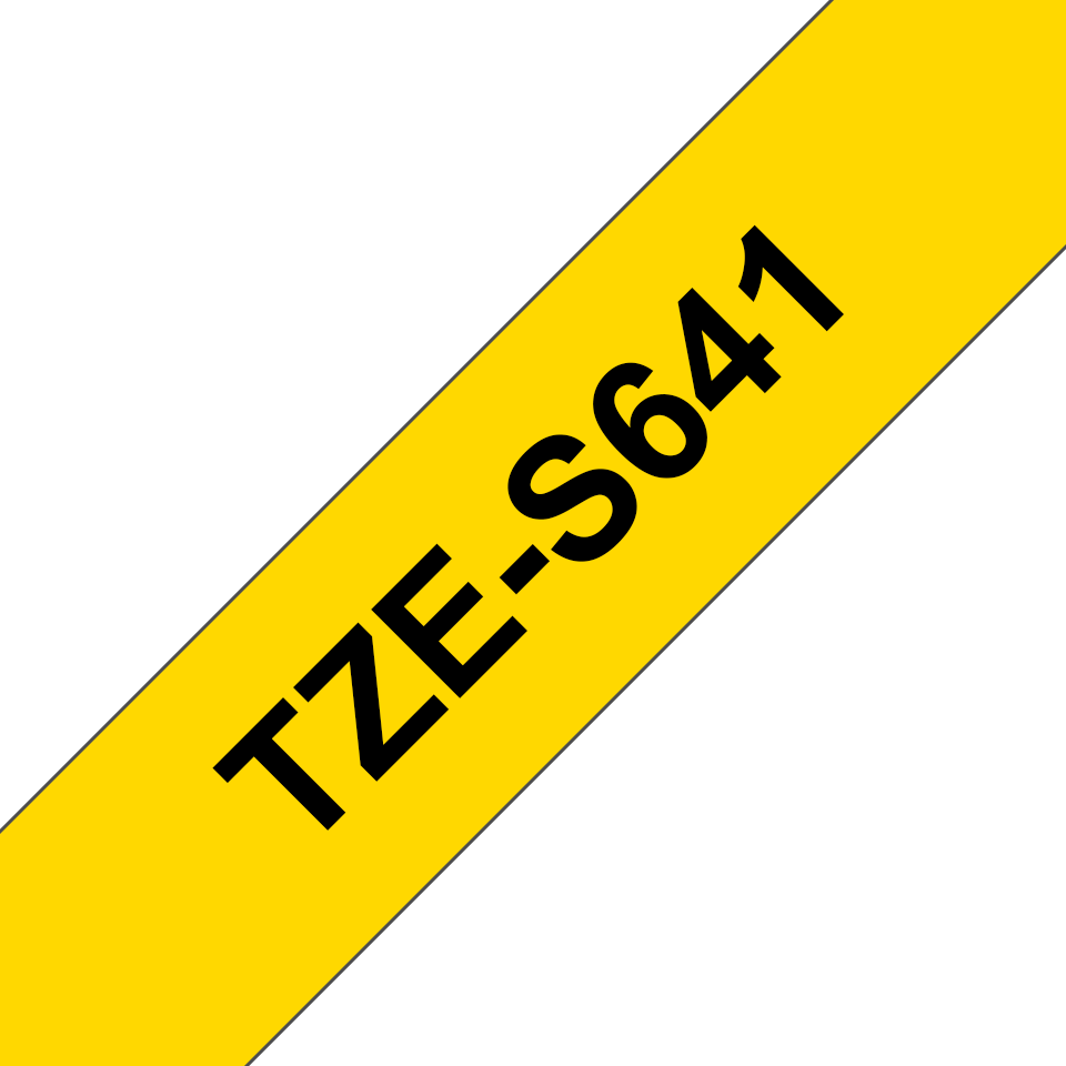 Genuine Brother TZe-S641 Labelling Tape Cassette – Black on Yellow Strong Adhesive, 18mm wide
