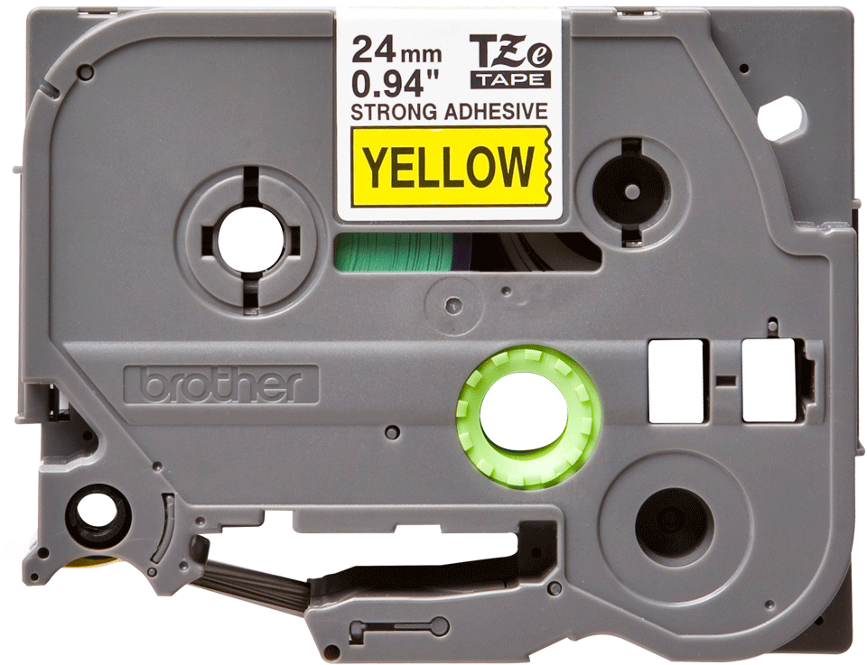 Genuine Brother TZE-S651 Labelling Tape Cassette – Black on Yellow Strong Adhesive, 24mm wide
