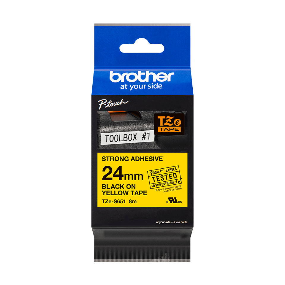 Genuine Brother TZE-S651 Labelling Tape Cassette – Black on Yellow Strong Adhesive, 24mm wide 2